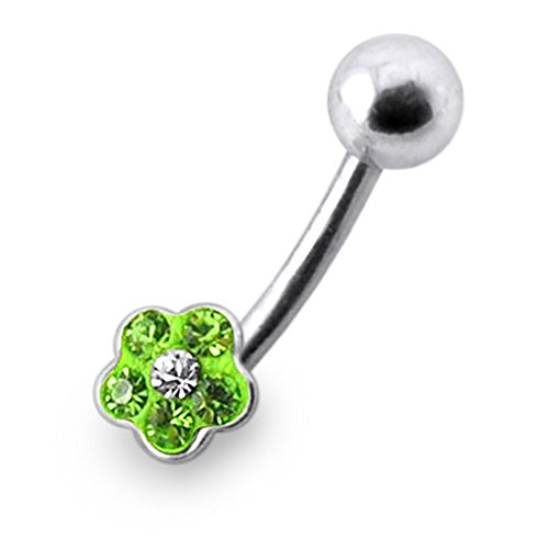 Multi Light Green Gems Stone Tiny Flowers 925 Sterling Silver Belly jewelry with 14Gx3/8(1.6x10MM) 316L Surgical Steel Banana and 5MM Ball.