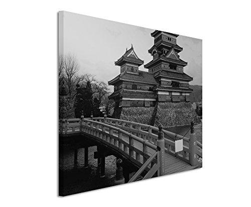 50x70cm Leinwandbild schwarz weiß in Topqualität Burg Matsumoto Japan