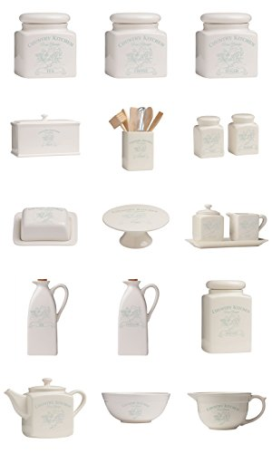 Complete Range Of Country Kitchen Canister Jar Food Storage Cream Dolomite (Complete Set)