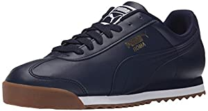 PUMA Men's Roma Basic Fashion Sneakers, Peacoat/Peacoat/Gum, 14 D US