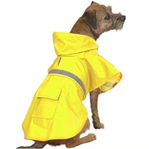 "Dog Rain Jacket Size-See Chart Below:  X-Large 	 - 24"" L, Color: Yellow"