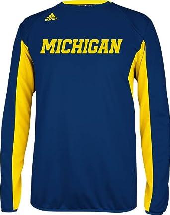 Michigan Wolverines Adidas Navy Sideline Crew Pullover Sweatshirt by adidas