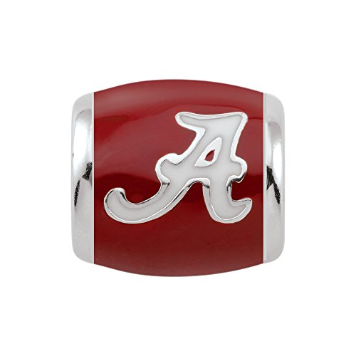 Persona Sterling Silver University of Alabama White A on Crimson Bead Charm