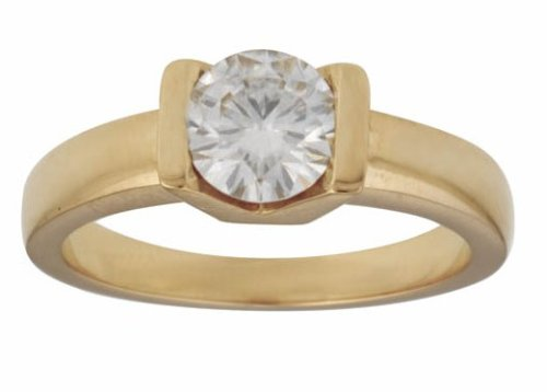 18ct Gold 6.5mm (1ct Equivelent) Tension Set Moissanite Single Stone Ring - Size J