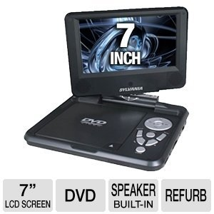 Sylvania SDVD7027, 7-Inch Portable DVD Player with Car Bag/Kit, Swivel Screen, USB/SD Card Reader (Black)