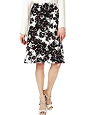 Linen Blend Knee Length Floral Belted Skirt