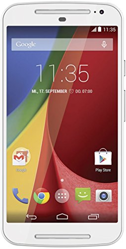 Motorola Moto G 2. Generation Dual-Sim Smartphone (5 Zoll (12,7 cm) Touch-Display, 8 GB Speicher, Android 5.02) weiß