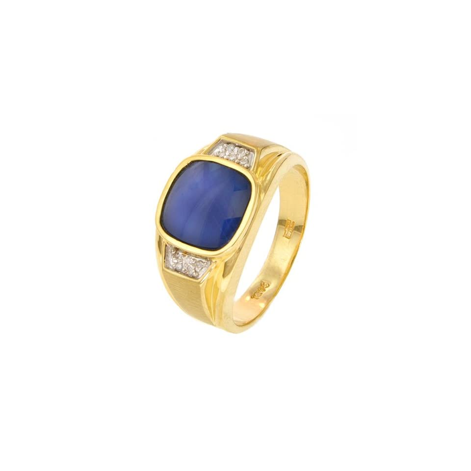 10k Yellow Gold Blue Star Mens Ring with Diamond Accent (.05 cttw, H I Color, I2 I3 Clarity), Size 11