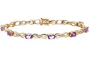 Naava 0.05 Carat Diamond with Amethyst Prong Setting Bracelet in 9ct Yellow Gold