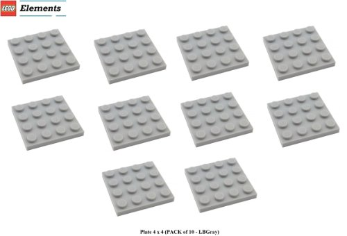 Lego Parts: Plate 4 x 4 (PACK of 10 - LBGray) (Sponge Bob Camper Van compare prices)