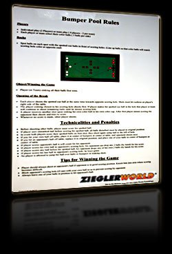 Bumper Pool Billiards Laminated Rules & Regulations house rules