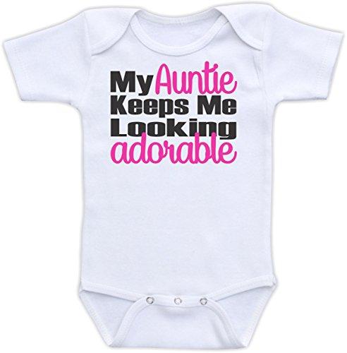 My Auntie Keeps Me Looking Adorable - Cute Baby Bodysuit Or Onesie (6-9M Bodysuit, Pink)