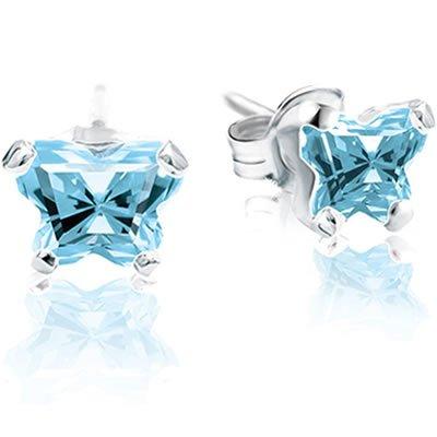 Jewelry Locker Bfly(tm) Sterling Silver and CZ March Birthstone Teen Earrings
