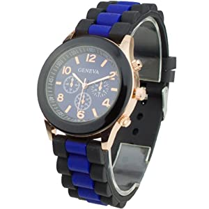 Women's Silicone Band Jelly Gel Quartz Wrist Watch Dark Blue from Sanwood