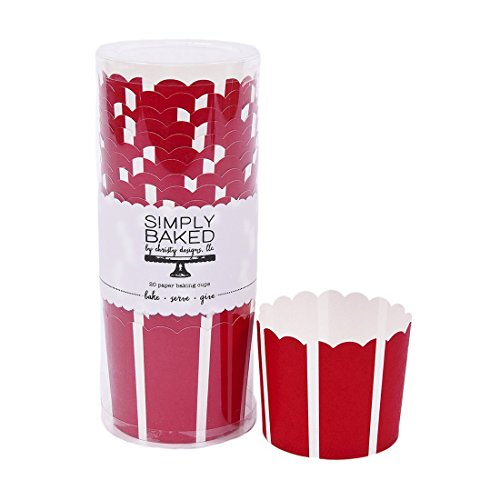 Simply Baked Large Paper Baking Cup, Scarlet with White Stripe, 20-Pack, Entertain with Ease and Style, Serve Cupcakes, Ice cream, Appetizers and More