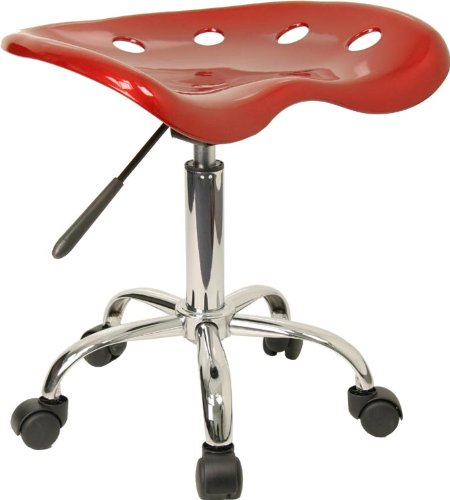 Vibrant Wine Red Tractor Seat and Chrome Stool [LF-214A-WINERED-GG]