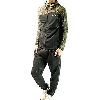 (フリースタイル)Freestyle 吸汗速乾 迷彩 カラー切替 メンズ ジャージ 上下 セットアップ 2719迷彩カーキ×ブラック LL