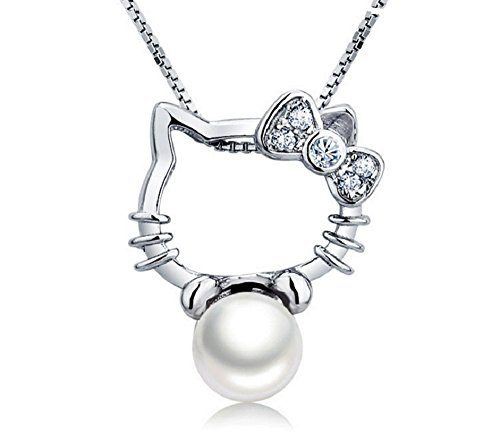 Tyzon-925-Sterling-Silver-Hello-Kitty-Style-Cultured-Freshwater-Pearl-Pendant-18-Silver-Necklace