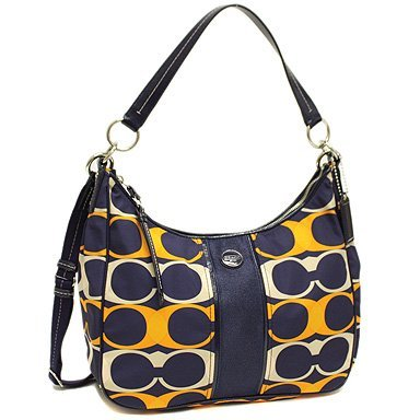 Coach 23936 Signature Linear Convertible Hobo Handbag Navy Blue / Multicolor
