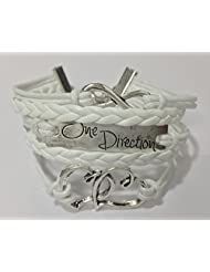 1d ~ Twin Hearts + Infinity + One Direction Leather Bracelet ~ White