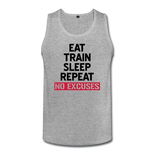 Eat Train Sleep Repeat No Excuses Funny Men Cotton Tank Top Heather Gray front-627564