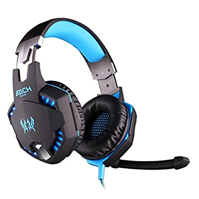 VersionTech EACH G2100 Professional 3.5mm LED Light PC Gaming Bass Stereo Noise Cancelling Vibration Vibrate Headset Headphone Earphones Headband With Mic Volume Control Microphone HiFi Driver For Laptop Computer Skype Online Chatting
