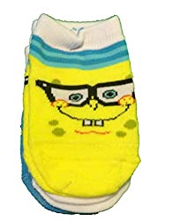 SpongeBob Squarepants Toddler Boys 3 Pair Socks With Non Slip Bottoms (18/24 Months)