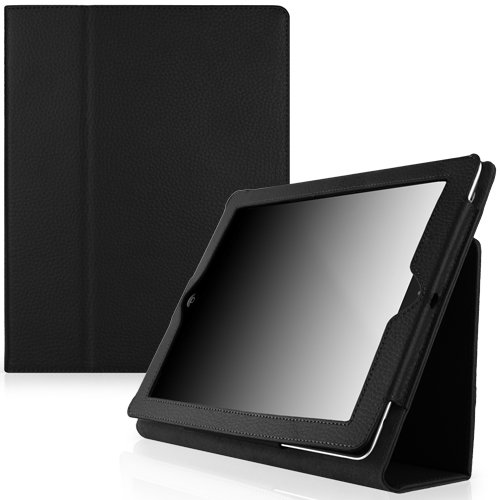 CaseCrown Bold Standby Genuine Leather Case (Black) for iPad 4th Generation with Retina Display, iPad 3 & iPad 2 (Built-in magnet for sleep / wake feature)