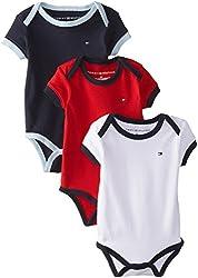 Tommy Hilfiger Baby-Boys Newborn 3 Pack Ken Bodysuit, Assorted, 3 Months
