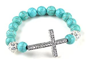 Turquoise Beads Sideways Cross Bracelets Fashion