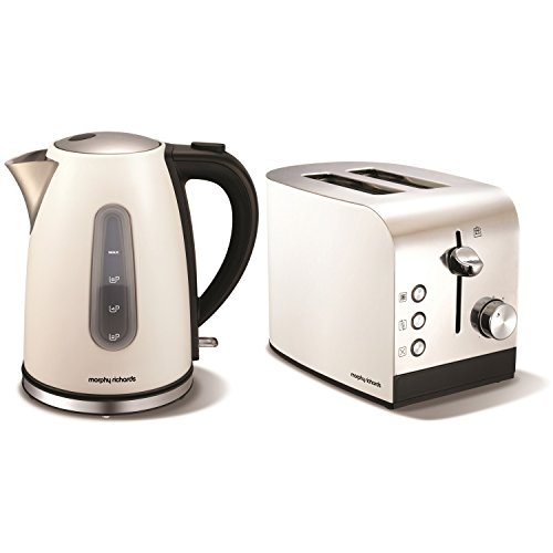 MORPHY RICHARDS ACCENTS WHITE STAINLESS STEEL JUG KETTLE & 2 SLICE TOASTER SET