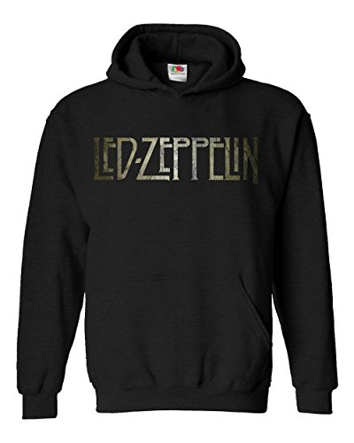 "Felpa Unisex ""Led Zeppelin"" - Texture Logo - Felpa con cappuccio rock band LaMAGLIERIA, M, Nero"