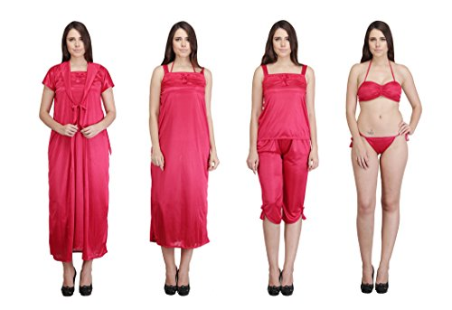 Indiatrendzs Women's Sexy Hot Nighty Hot Red 6pc Set Eveningwear Freesize