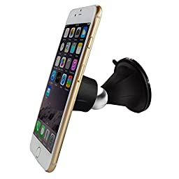 Car Mount,Yoyamo 360°Rotation Swivel Universal Smartphone Double Suction Cup Car Mount Holder Cradle With Strong Magnetic For Apple Iphone 5 5s 5c 6s 6(Plus),Samsung,HTC,LG & GPS Devices