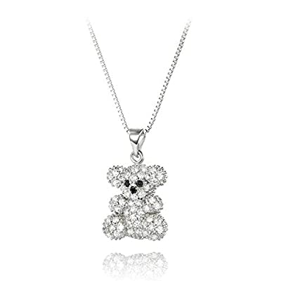 findout sterling silver diamond teddy bear pendant necklace (f1422)