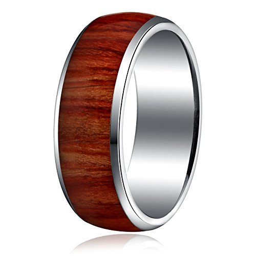 Areke 8mm Titanium Wood Pattern Engagement Rings for Men Women Vintage Wedding Band Size 8 - 13 Ring Size Size 9 (My Mystic Gems compare prices)