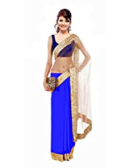 Winza Faux Georgette Saree (Bag Half Half_Blue _Dark Blue And Beige)