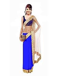 Winza Faux Georgette Saree (Bag Half Half_Blue _Dark Blue And Beige)