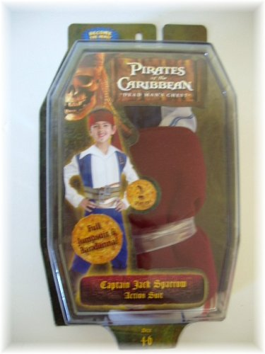 Pirates of the Caribbean Captain Jack Sparrow Action Suit Childs Costume Size 4 to 6 - 1