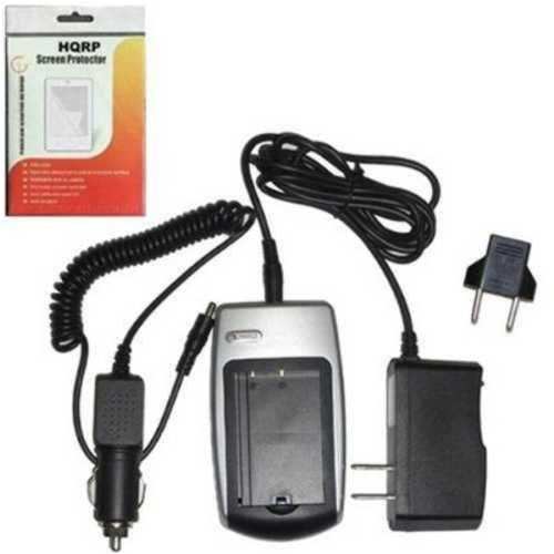 Hqrp Battery Charger For Panasonic Pv-Dv401, Pv-Dv402, Pv-Dv51, Pv-Dv52, Pv-Dv53, Pv-Dv53D Camcorder Replacement Plus Lcd Screen Protector