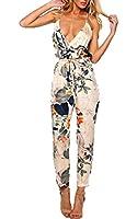 Zeagoo Women Summer V Neck Halter Backless Elastic Waist Adjustable Strap Flower Print Side Split Long Jumpsuit