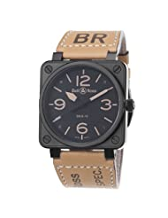 Bell & Ross Men's BR01-92-HERITAGE Avation Black Dial and Brown Strap Watch