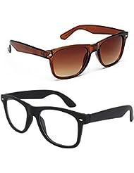 New Stylish UV Protected Combo Pack Of Sunglasses For Women / Girl ( BrownWayfarer-ClearBlackWayfarer ) ( CM-SUN...