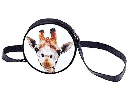 Borsa rotonda a tracolla con motivi divertenti. Borsetta con chiusura zip. Moderno lyfestyle trend zaino donne design, Tasche HT-01-36:HT-017 giraffa