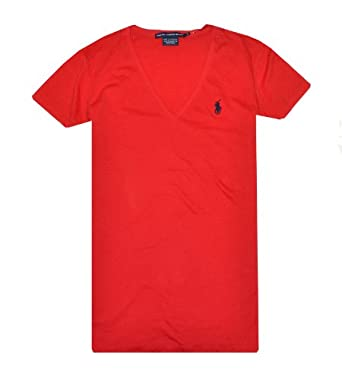 Ralph Lauren Sport Women Lightweight V-Neck T-Shirt (XS, Prep red)