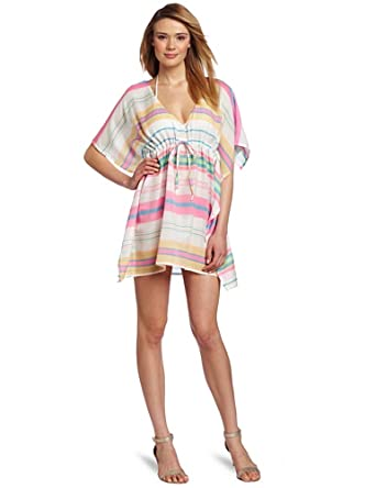 Echo Design Women's Yarn-Dyed Striped Butterfly Cover Up , Hot Pink, One Size