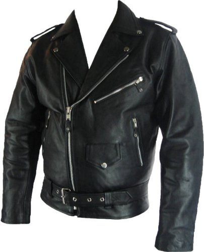 Mens classic Brando Biker style Real Leather Jacket #B2 (M)