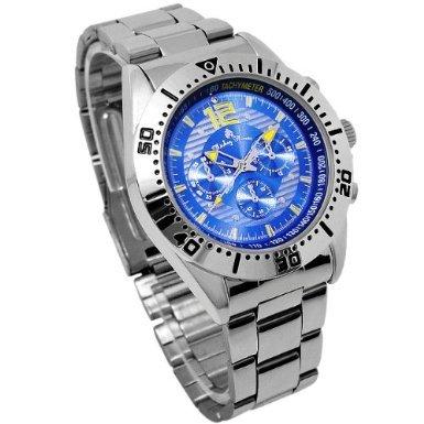 Disney ディズニー ミッキー クロノモデル 回転ベゼル 腕時計 ブルー 青 クォーツ スワロフスキー 銀【並行輸入品】