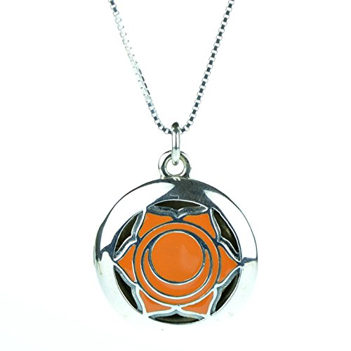 925 Sterling Silver 2nd Sacral Yoga Seven Chakra Aromatherapy Essential Oil Diffuser Locket Necklace & 5 refill pads