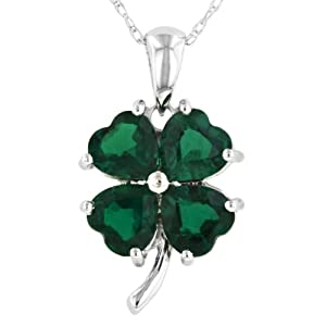 10k White Gold Created Emerald 4 Leaf Clover Pendant, 18""